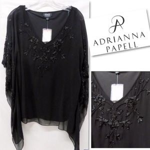 NWT Adrianna Pappell Beaded Poncho
